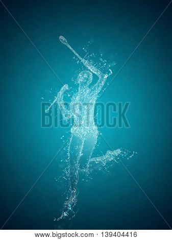 Abstract woman rhythmic gymnast. Crystal ice effect