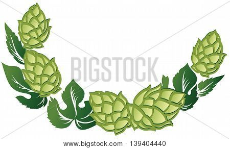 Vector illustration decorative frame of green leaves and hop cones.