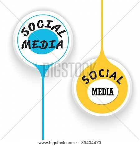 Two vector objects and the words social media