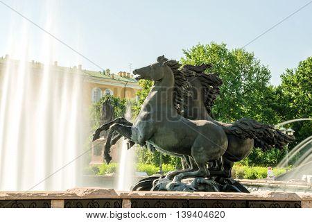 Fountain by Zurab Tsereteli in Alexander Garden, near Moscow Kremlin. Russia
