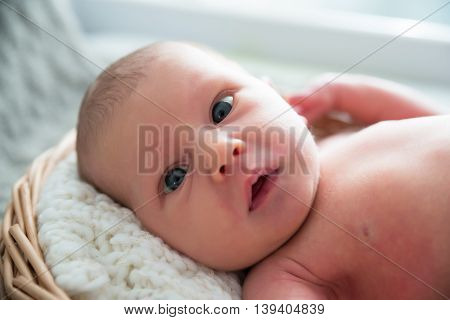 Close-up Of A Cute Little Baby Lying