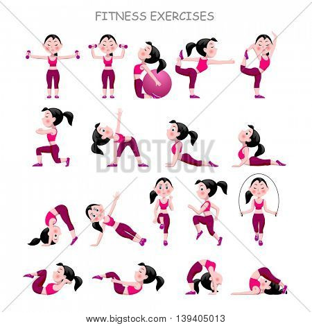 Cartoon girl in pink suit doing fitness exercises isolated on white background. Vector illustration.