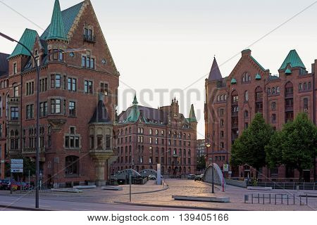 Hamburg famous warehouse district called Speicherstadt in the former free port. Today the Speicherstadt is a unesco world heritage site. The whole warehouse district is crossed by water channels. The Speicherstadt is a main tourist attraction in Hamburg