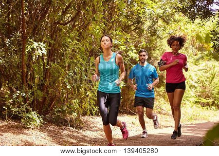 Three Youngsters Running For Just Fun