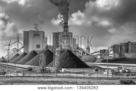Heavy Industry Plant With Pipes And Smoke