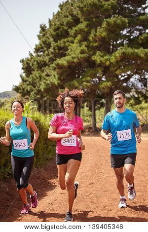 Three Friends Running A Country Marathon