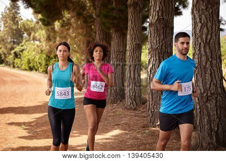 Three Cross Country Marathon Race Runners