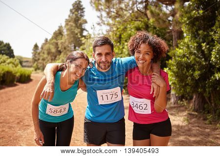 Three Happy Runners Completed The Race