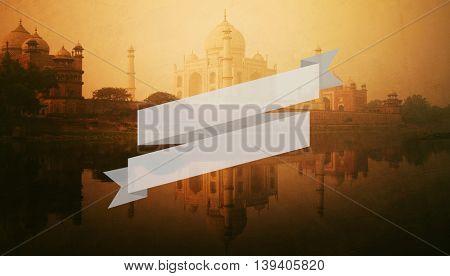 Golden textured picture of Taj Mahal scenery.