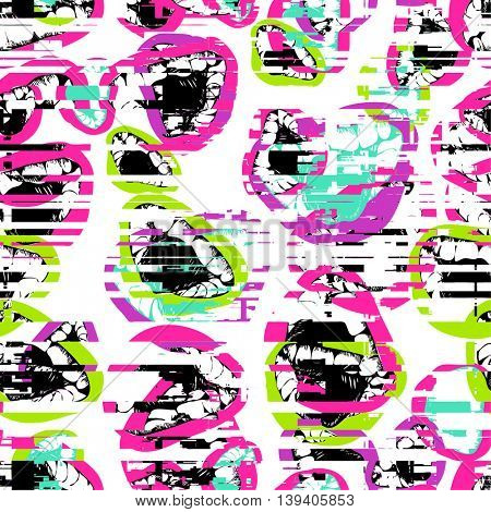 seamless pop art pattern with mouth teeth and tongue