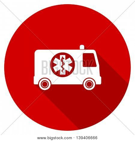 ambulance red vector icon, circle flat design internet button, web and mobile app illustration