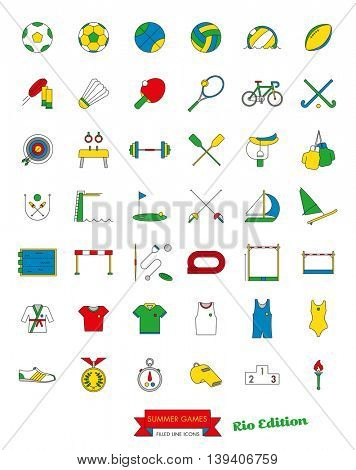 Summer Sports Events Filled Line Icon Collection Vector. Set of 42 symbols in four basic  colors.