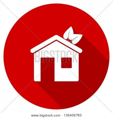 house red vector icon, circle flat design internet button, web and mobile app illustration