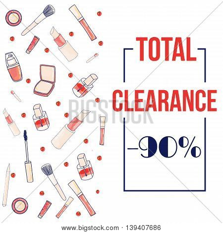Colorful cosmetic items banner sale promotion isolated on white background. Make-up illustration