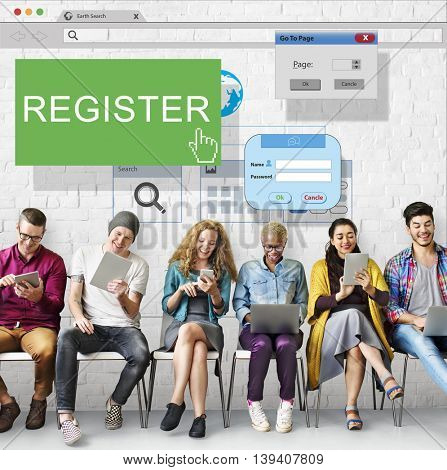 Register Enter Apply List Subscribe Application Concept
