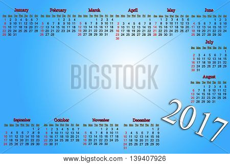 office calendar for 2017 year on blue background with white gradient. Calendar for 2017 year with empty place in the middle