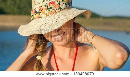 Portrait Of Beautiful Women By The Lake