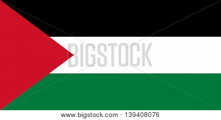 State flag of Palestine with Authentic colors and 1:2 scale