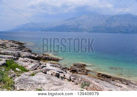 View from Hvar island on continental Dalmatia, Croatia