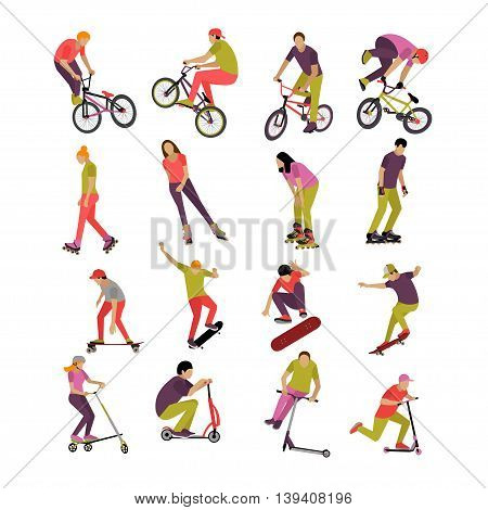 Vector set of people on bicycle, skateboard, rollers and scooter. Sport design elements and icons isolated on white background. Teenager makes tricks and stunts.