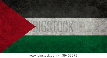 State flag of Palestine with distressed textured treatment