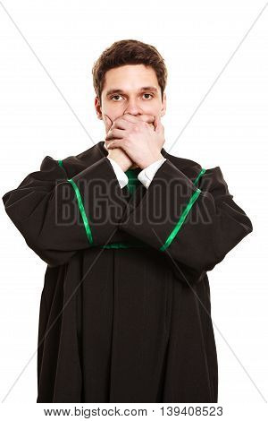 Male Lawyer Cover Mouth With Hands.