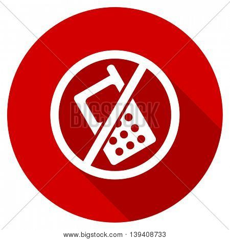 no phone red vector icon, circle flat design internet button, web and mobile app illustration