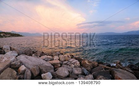 Panoramic view of beautiful sunset at Hvar island, Croatia