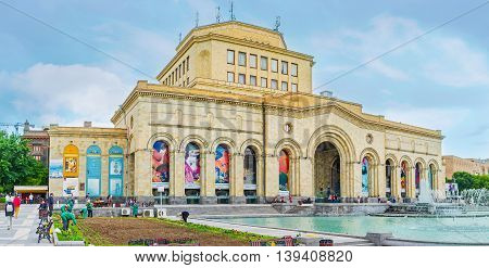 YEREVAN ARMENIA - MAY 29 2016: The National Gallery is the largest art museum in country located in Republic Square on May 29 in Yerevan.