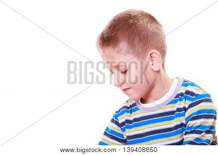 Emotions and thinking calm daydream. Little boy absorbed calm and pensive alone.