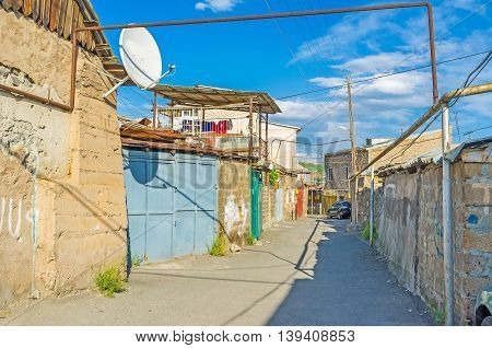 The large are occupied with slums located in Kond District of Yerevan Armenia.
