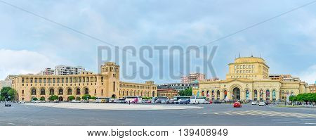 YEREVAN ARMENIA - MAY 29 2016: The semicircular Government building and the National Gallery are the parts of Republic Square architectural complex on May 29 in Yerevan.