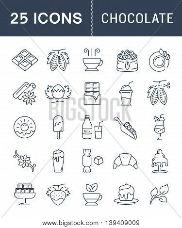 Set vector line icons in flat design chocolate dessert cacao and candy with elements for mobile concepts and web apps. Collection modern infographic logo and pictogram.