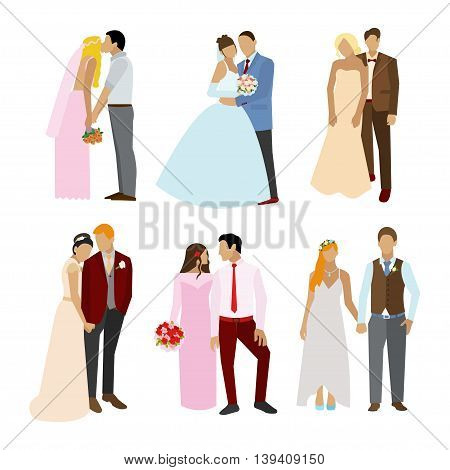Just married couples in different poses and dress. Vector illustration in flat style. Design elements and icons isolated on white background. Wedding couple silhouettes.