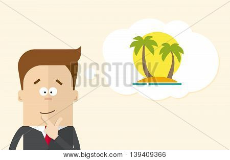 Happy businessman or manager imagines vacation on the island. A man in a business suit thinking about vacation. Silhouette of palm trees against the sun. The man close up