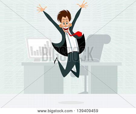 Vector illustration of businessman jumping in office