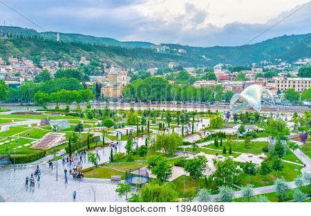 TBILISI GEORGIA - MAY 28 2016: The scenic Rike Park located at the foot of the hill on May 28 in Tbilisi.