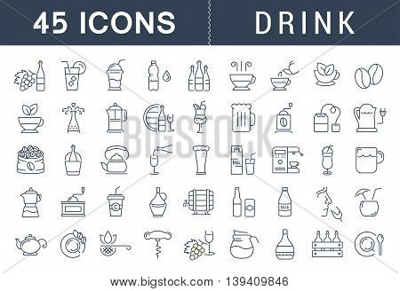 Set vector line icons drinks and alcohol tea beer coffee wine water milk and champagne in flat design with elements for mobile concepts and web. Collection modern infographic logo and pictogram.