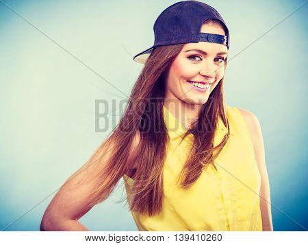 Portrait Of Joyful Trendy Girl.