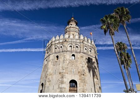 The Torre del Oro (Tower of the Gold) is a dodecagonal military watchtower in Seville Spain.