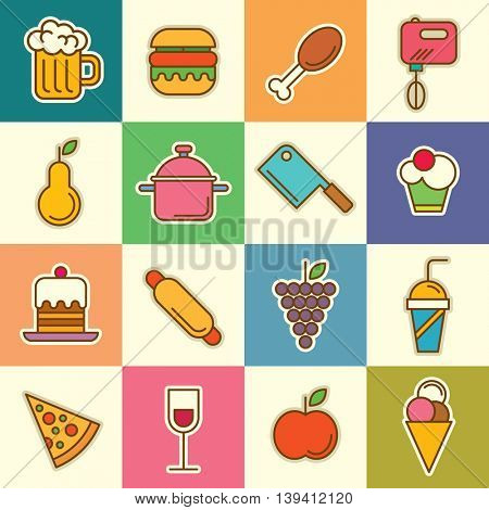 Food and drink icon set. Vector illustration.