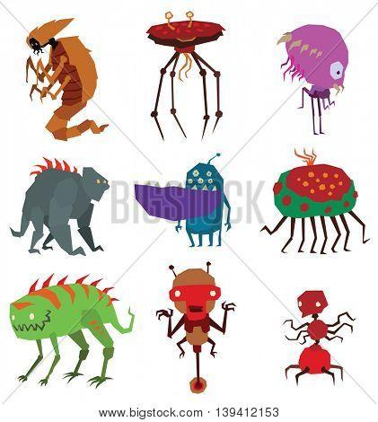 Aliens monsters vector illustration.