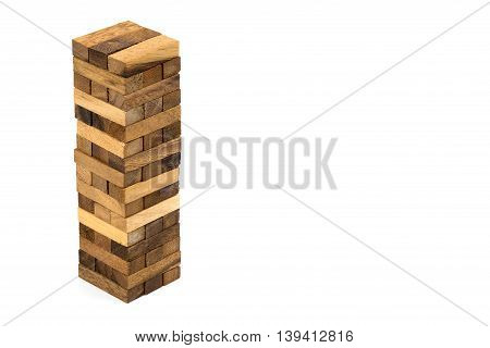 Wooden building block isolated on white. Image with clipping path