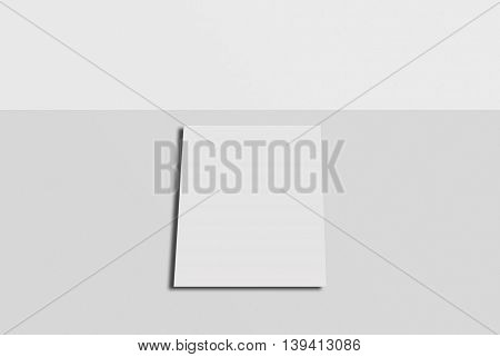 Mock-up postcard and cover. White paper card on grey background. For your design and template.