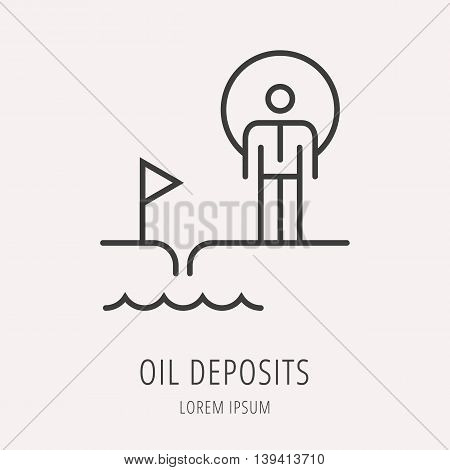 logo or label oil. Line style logotype template with worker. Easy to use business template. Vector abstract logo or emblem.