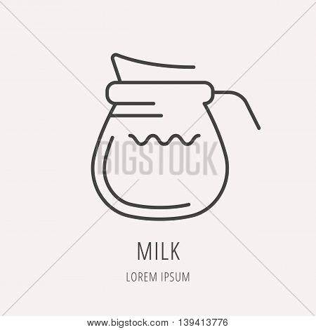 logo or label drink. Line style logotype template with milk. Easy to use business template. Vector abstract logo or emblem.