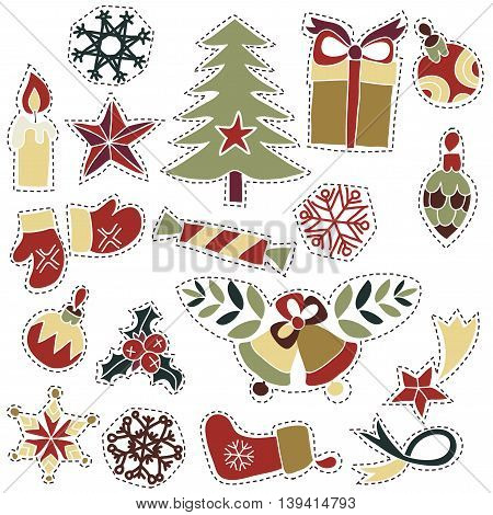 Collection of Vintage Merry Christmas And Happy New Year christmas goods patches badges or fashion pin . Greeting stylish illustration of christmas romantic goods. Ready for cards or posters.Glass ball, bells, fir tree, star, gift box