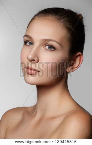 Beauty Portrait. Beautiful Spa Woman Face. Perfect Fresh Skin