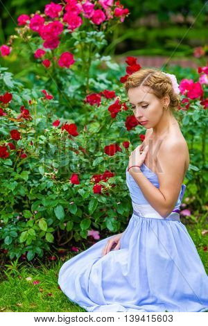 Pretty woman in long blue dress poses near red roses in summer garden