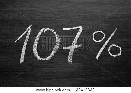 107 percent header written with a chalk on the blackboard